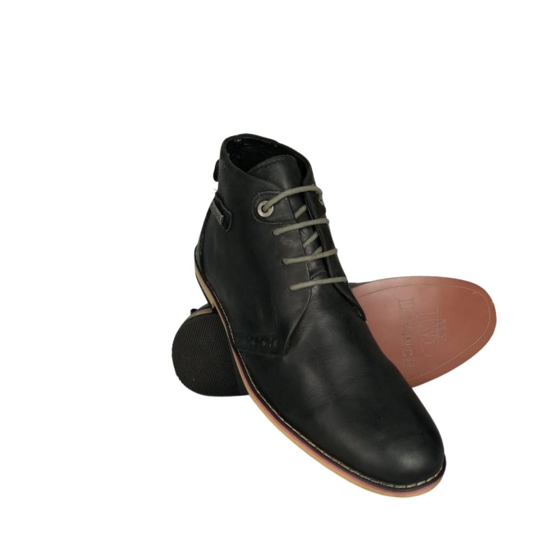 حذاء جلد طبيعي هاف بوت اسود داكن اللون \105 .loqtaa.com,